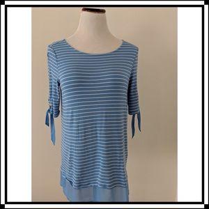 EUC!! Ellen Tracy Blue/White Striped Cold Shoulder